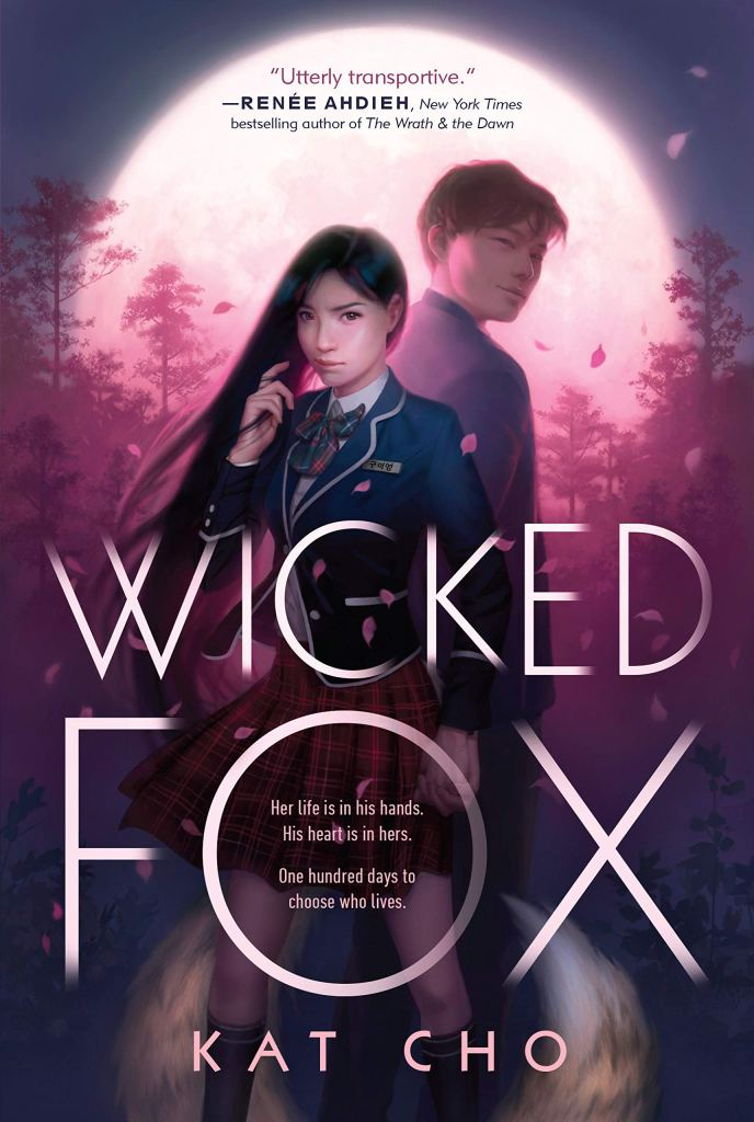 The cover of Wicked Fox by Kat Cho depicting a young Korean boy and girl in school uniforms with the moon behind them