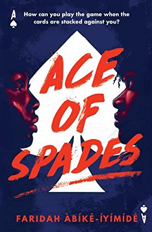 ace of spades cover art featuring a black boy and girl facing one another before the silhouette of a spade