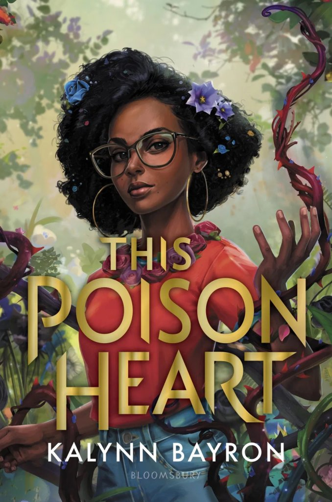 this poison heart cover eart featuring a black girl with glasses and natural hair in front of various foliage