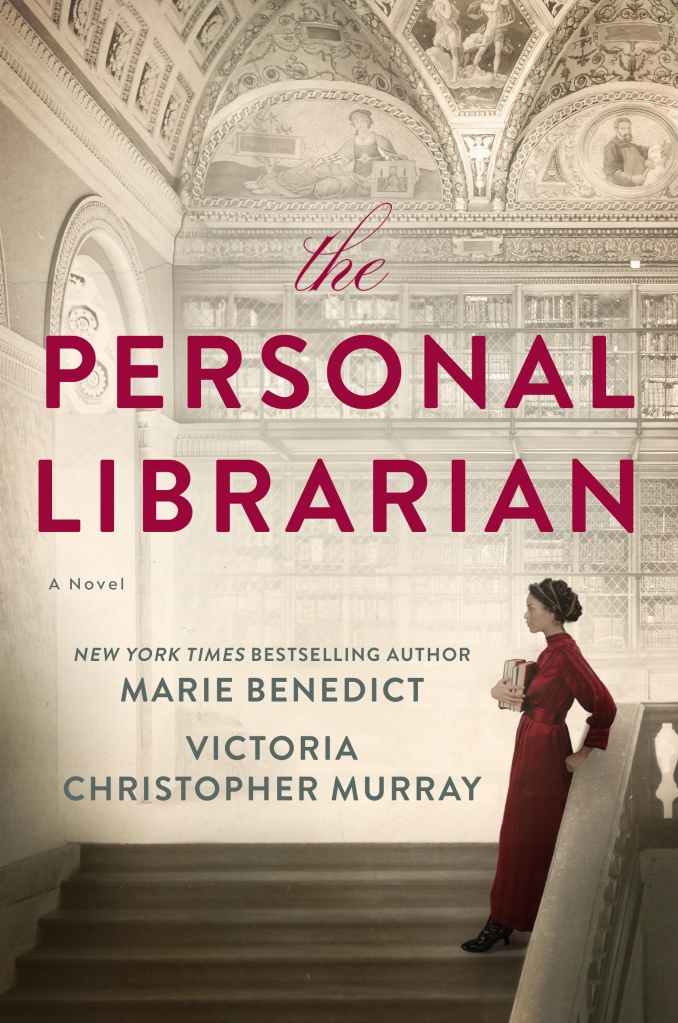 the personal librarian cover art featuring the silhouette of a woman on the stairs of a library