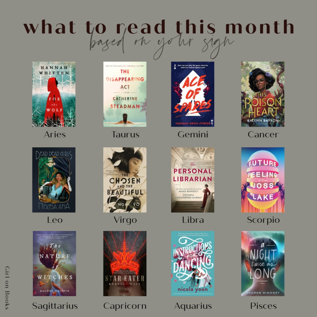 shareable image of all my june book recs next to their corresponding zodiacs