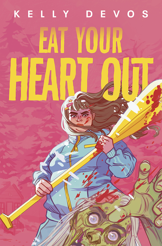 eat your heart out book cover featuring a bad ass fat girl hitting a zombie with a boat paddle