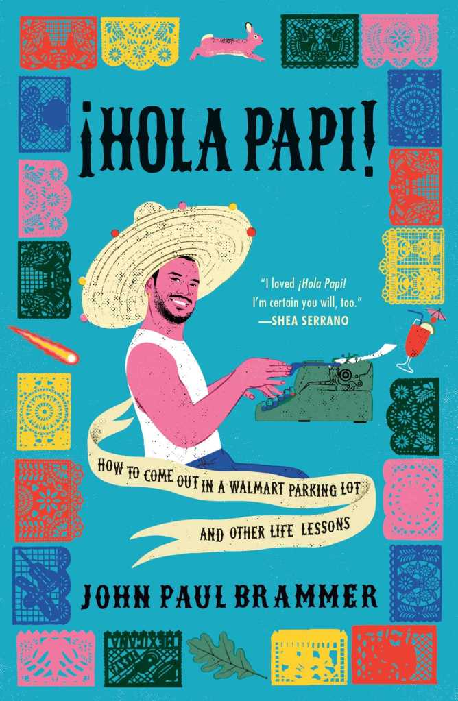 cover of hola papi featuring a mixed race man in a sombrero typing on a typewriter with a cocktail beside him